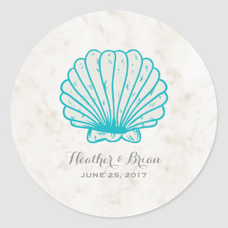 Turquoise Rustic Seashell Wedding Round Sticker