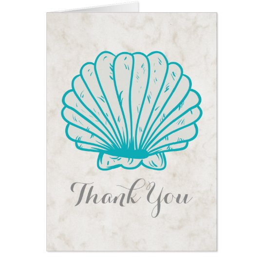 Turquoise Rustic Seashell Wedding Thank You Card