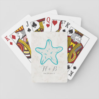 Turquoise Rustic Starfish Wedding Playing Cards