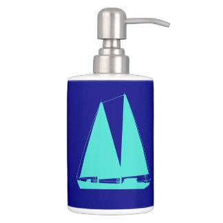 Turquoise Sailboat On Navy Blue Coastal Decor Bath Accessory Set