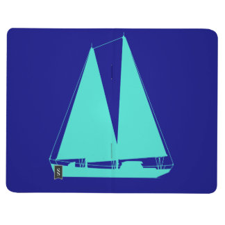 Turquoise Sailboat On Navy Blue Journal