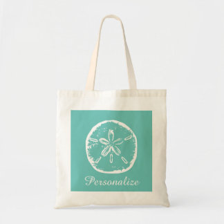 Turquoise sand dollar beach wedding tote bag