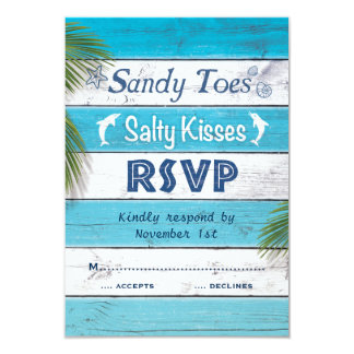 Turquoise Sandy Toes Salty Kisses RSVP Card