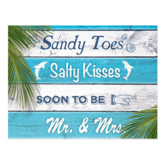 Turquoise Sandy Toes Salty Kisses Save the Date Postcard