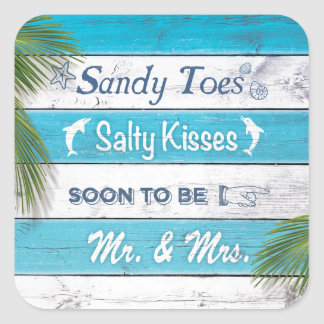 Turquoise Sandy Toes Salty Kisses Sticker