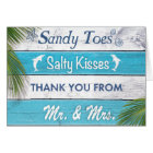 Turquoise Sandy Toes Salty Kisses Thank You Card