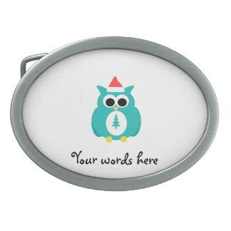 Turquoise santa owl oval belt buckles