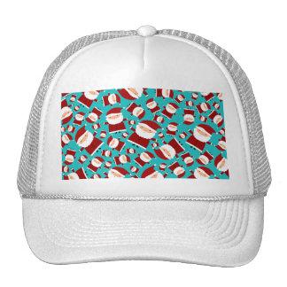 Turquoise santa pattern mesh hats