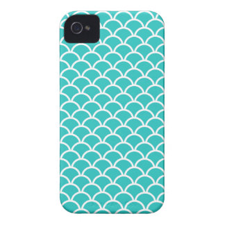 Turquoise Scallop Pattern Case-Mate iPhone 4 Cases