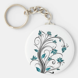 Turquoise Scrolling Vines Key Ring