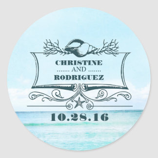Turquoise Sea Beach Wedding Round Sticker