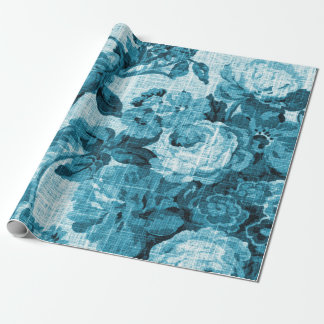 Turquoise Sea Ocean Blue Floral Toile Decoupage Wrapping Paper
