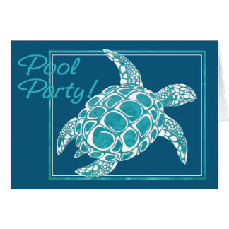 Turquoise Sea Turtle Invite Pool Party Greeting Card