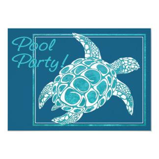 Turquoise Sea Turtle Invite Pool Party