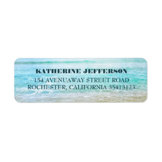 Turquoise Sea Waves Beach Wedding Return Address Label