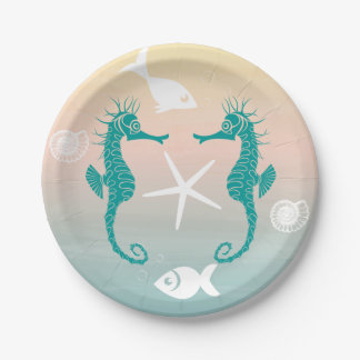 Turquoise Seahorse Blue Pink Sunset Beach Wedding Paper Plate