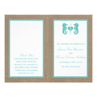 Turquoise Seahorse Burlap Beach Wedding Collection 21.5 Cm X 28 Cm Flyer