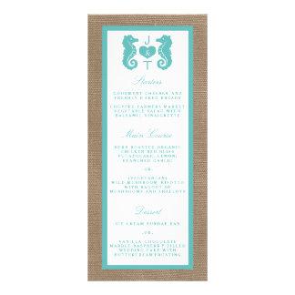 Turquoise Seahorse Burlap Beach Wedding Collection Customized Rack Card