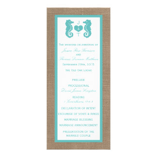 Turquoise Seahorse Burlap Beach Wedding Collection Full Colour Rack Card