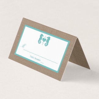 Turquoise Seahorse Burlap Beach Wedding Collection Place Card