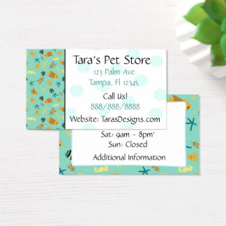 Turquoise Seahorse & Fish Teal Dots Business Cards