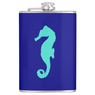 Turquoise Seahorse On Navy Blue Coastal Decor Flask
