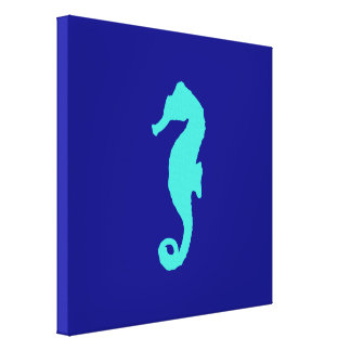 Turquoise Seahorse On Navy Blue Coastal Decor Stretched Canvas Prints
