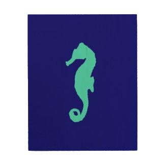 Turquoise Seahorse On Navy Blue Coastal Decor Wood Prints