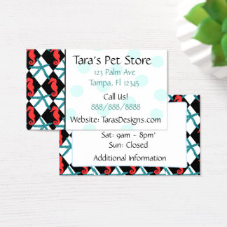 Turquoise Seahorse Teal Dots Business Cards
