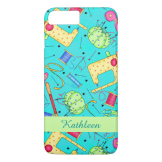 Turquoise Sewing Art Name Personalized iPhone 7 Plus Case