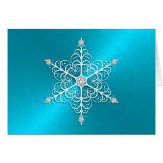 Turquoise Sheen Snowflake Greeting Card