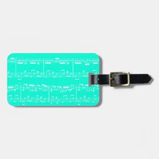 Turquoise Sheet Music Luggage Tag