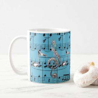 Turquoise Sheet Music & Silver Music Notes Coffee Mug