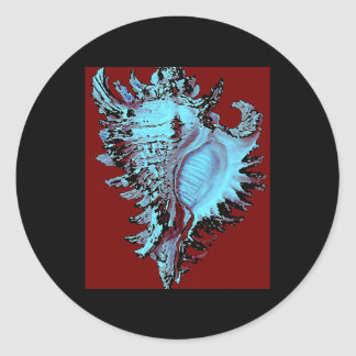 Turquoise Shell on Deep Red Round Sticker