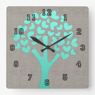 Turquoise Shimmer Tree of Hearts Beige Linen Look Square Wall Clock