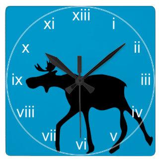 Turquoise Silohuette Moose Wall Clock