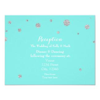 Turquoise & Silver Glitter Confetti Reception Card
