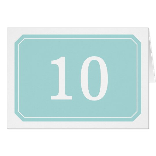 Turquoise Simply Elegant Table Number Card
