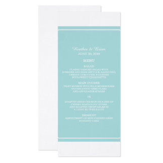 Turquoise Simply Elegant Wedding Menu Card