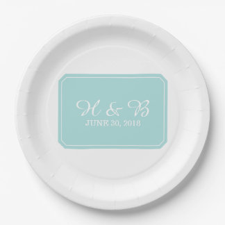 Turquoise Simply Elegant Wedding Paper Plate