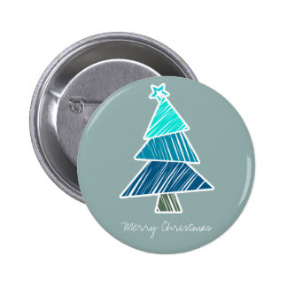 Turquoise Sketchy Christmas Tree Button
