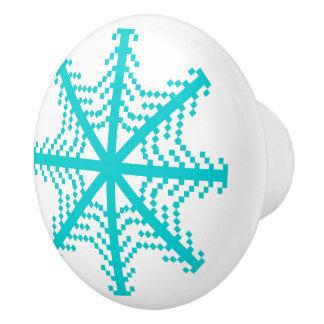 Turquoise Snowflake Ceramic Knob
