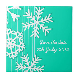 Turquoise Snowflakes Christmas Save the date Tile