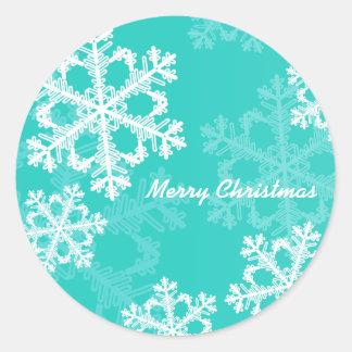 Turquoise Snowflakes Christmas Sticker