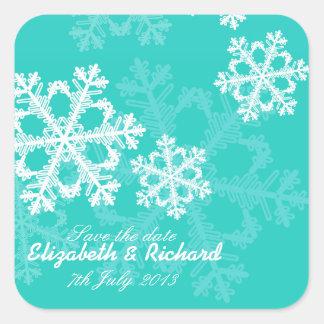 Turquoise Snowflakes Christmas Trees Sticker