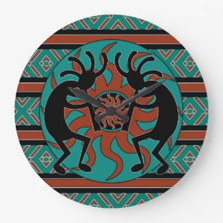 Turquoise Southwest Design Kokopelli Large Clock