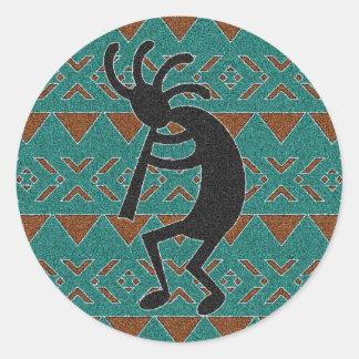 Turquoise  Southwest Kokopelli Classic Round Sticker