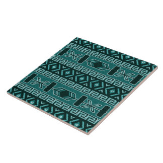 Turquoise  Southwest Tribal Aztec Pattern Large Square Tile