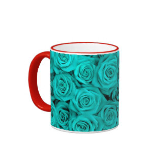 Turquoise Spectacular Roses Coffee Mugs