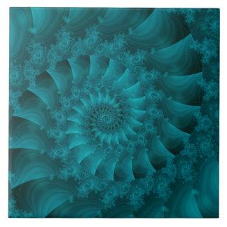 Turquoise Spiral Fractal Tile